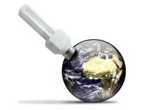 Ecologic lightbulb en aarde Royalty-vrije Stock Foto