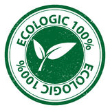 Ecologic 100 percent. An Ecologic 100% label with leaves symbol vector illustration