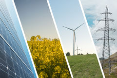 Ecologic and renewable energies collage background Royalty Free Stock Photos