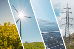 Ecologic and renewable energies collage background. Ecologic and renewable energy collage background stock photo