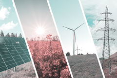 Ecologic and renewable energies collage background Royalty Free Stock Image