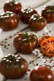 Ecologic svart tomat fotografering för bildbyråer