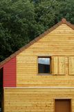 Ecologic wooden house. A new wooden house in France royalty free stock photo