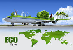 Ecological air travel. The environmental of aviation, concept Royalty Free Stock Photo