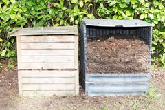Ecological approach has its own compost bin. In garden Royalty Free Stock Images