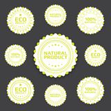 Ecological badges. Collection of Ecological bages in minimalistic retro style Stock Photo