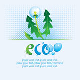Ecological banner. With the words ECO spray water and dandelion Royalty Free Stock Images