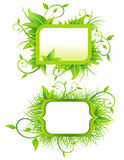 Ecological Banners. Two ecological signs from grass and leaves stock illustration