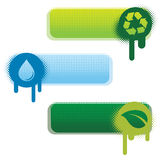 Ecological Banners. Three ecological banners with halftone and spray effect Royalty Free Stock Photos