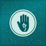 Ecological beauty and health care, enviromental protection icon on a green background, with arrows in different directions. It app. Ears on the electronic board Royalty Free Stock Image