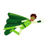 Ecological black superhero man in green costume flying, eco concept  Illustration Royalty Free Stock Photography