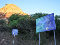 Ecological board on beach Falesia near Albufeira Stock Images