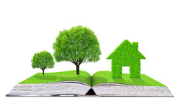 Ecological book with trees and house Royalty Free Stock Images