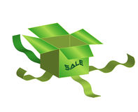 Ecological box. One green boxes, object white isolated, vector, jpg, illustrations Royalty Free Stock Photos