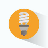 Ecological bulb light yellow circle shadow Royalty Free Stock Images
