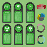 Ecological business green infographic with icons and 3d charts, flat design. Digital vector image Royalty Free Stock Photography