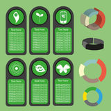 Ecological business green infographic with icons and 3d charts, flat design. Digital vector image Stock Photo