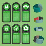 Ecological business green infographic with icons and 3d charts, flat design. Digital vector image Stock Images