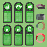 Ecological business green infographic with icons and 3d charts, flat design. Digital vector image Stock Photography