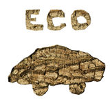 Ecological car from bark texture isolated Royalty Free Stock Photography