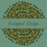 Ecological card with indian stylization lotus Royalty Free Stock Image