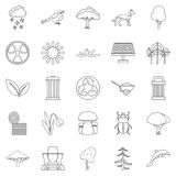 Ecological care icons set, outline style. Ecological care icons set. Outline set of 25 ecological care vector icons for web isolated on white background Royalty Free Stock Images