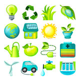 Ecological Cartoon Icons Collection. With environmental organic natural elements and objects isolated vector illustration Stock Image