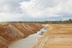 Ecological catastrophy in mud sand quarry Stock Photography