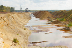 Ecological catastrophy in mud sand quarry Royalty Free Stock Photography