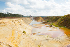 Ecological catastrophy in mud sand quarry Royalty Free Stock Photo