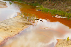 Ecological catastrophy in mud sand quarry Stock Photos