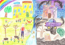 Ecological childs drawing on the theme of environmental pollution Royalty Free Stock Photo
