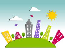 Ecological City. Colorful graphic illustration over blue background Royalty Free Stock Photos