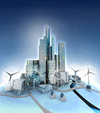 Ecological city general view with windmills Stock Photos