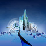 Ecological city powered with windmills perspective view Stock Photography