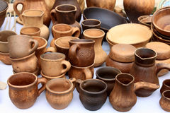 Ecological clay pottery ceramics sold in market Royalty Free Stock Photos