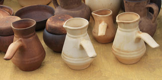 Ecological clay pottery ceramics sold in market Stock Photography