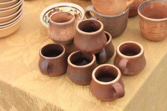 Ecological clay pottery ceramics sold in market Royalty Free Stock Photo