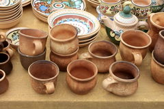 Ecological clay pottery ceramics sold in market Royalty Free Stock Image