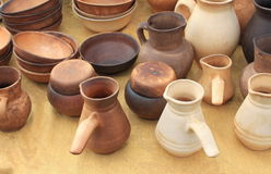 Ecological clay pottery ceramics sold in market Stock Photo