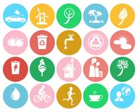 Ecological Colorful Labels Collection on White. Ecological colorful labels collection isolated on white. Vector set of badges providing healthy lifestyle and Stock Photography