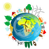 Ecological concept with Earth globe. And alternative energy sources Stock Image