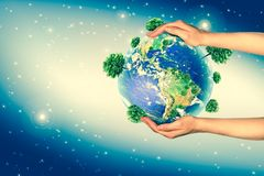 Ecological concept of the environment with the cultivation of trees on the ground in the hands. Planet Earth. Physical. Globe of the earth. . 3D illustration Stock Photo
