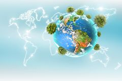 Ecological concept of the environment with the cultivation of trees. Planet Earth. Physical globe of the earth. Elements. Of this image furnished by NASA. 3D Royalty Free Stock Photo