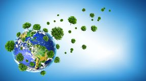 Ecological concept of the environment with the cultivation of trees . Planet Earth. Physical globe of the earth royalty free stock photography