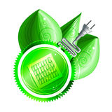 Ecological concept: green label with electricity plug Stock Photography