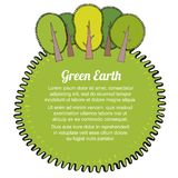 Ecological concept template with trees. Green Eco Earth. Vector illustration. Concept  Vector illustration with hand drawing elements Stock Photography