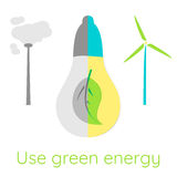 Ecological concept. Use green energy. Wind turbine against fuming pipe Stock Photography