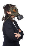 Ecological disaster. Business woman in gas mask isolated on white background Royalty Free Stock Image
