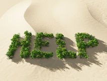 Ecological disaster. Help sing on desert land Royalty Free Stock Images
